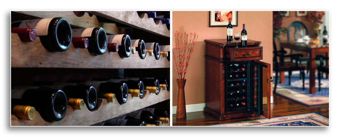 Image of wine bottles in a wine cooler and an image of wine bottles laying in a wine rack.