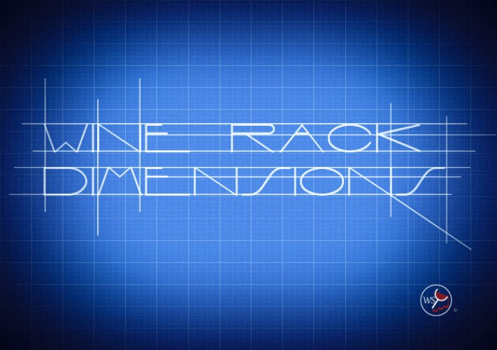 Infographic showing wine rack dimensions on a blueprint background.