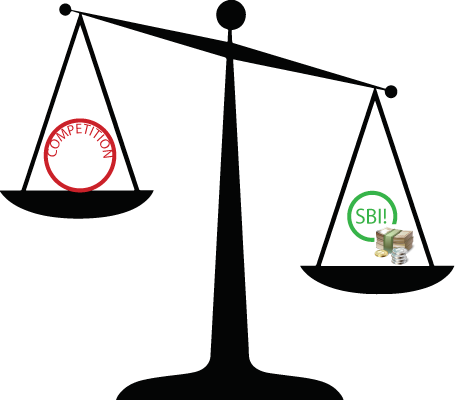 Infographic showing the scales of justice with SBI versus Wealthy Affiliates.