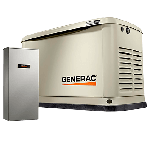 Image of a backup generator with transfer switch.