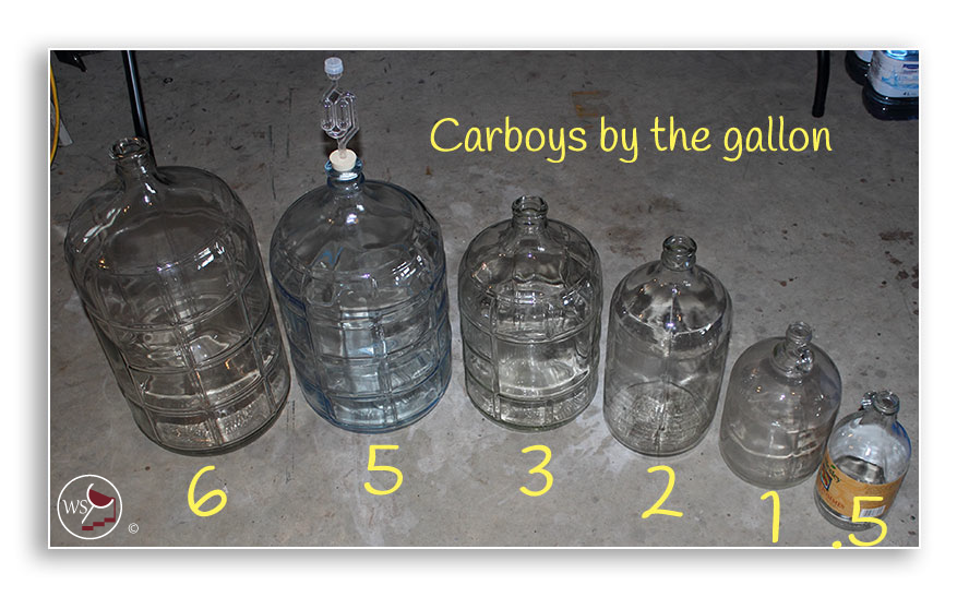 Image showing 6 carboys in different sizes
