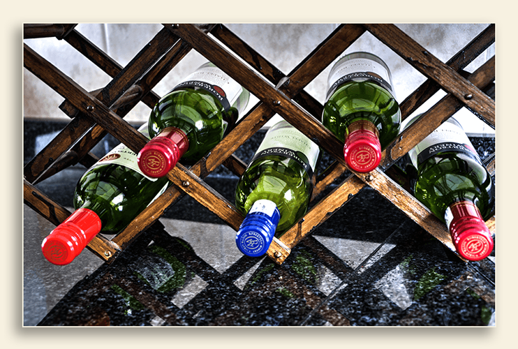Image of countertop wine rack.