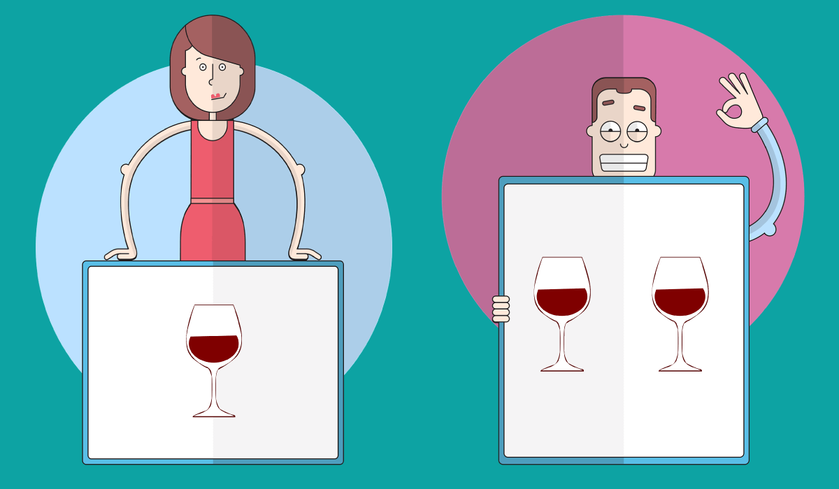 Infographic showing a man and a woman drinking in moderation.