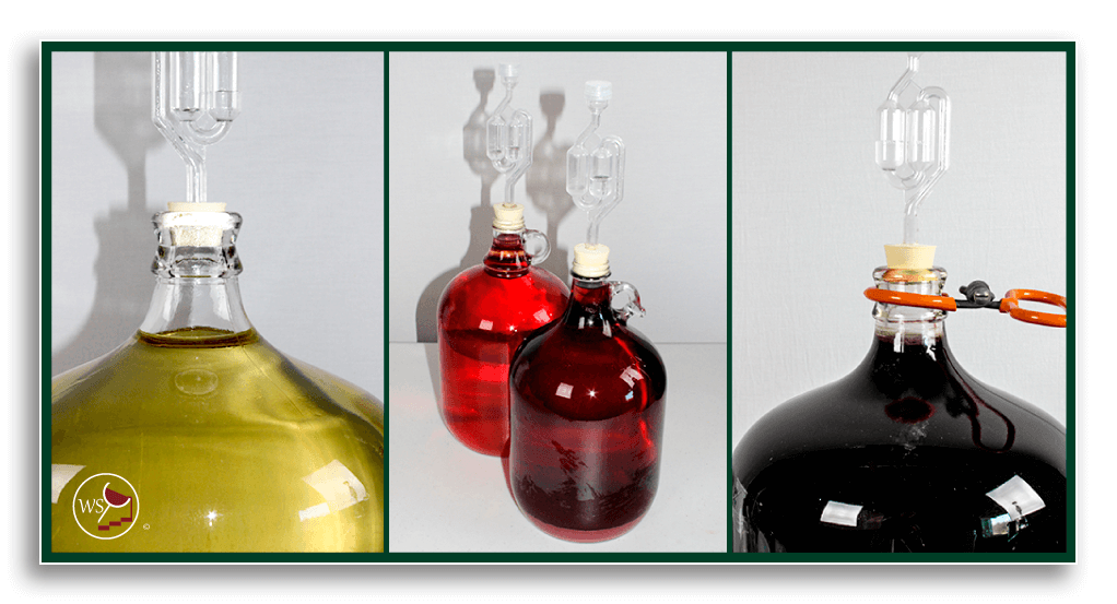 Image showing carboys topped up with wine