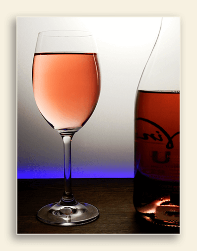 Image of a blush wine to relax with.