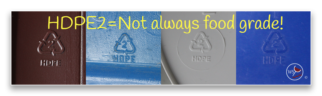 Image showing four HDPE2 symbols which doesn't guarantee a food certified bucket