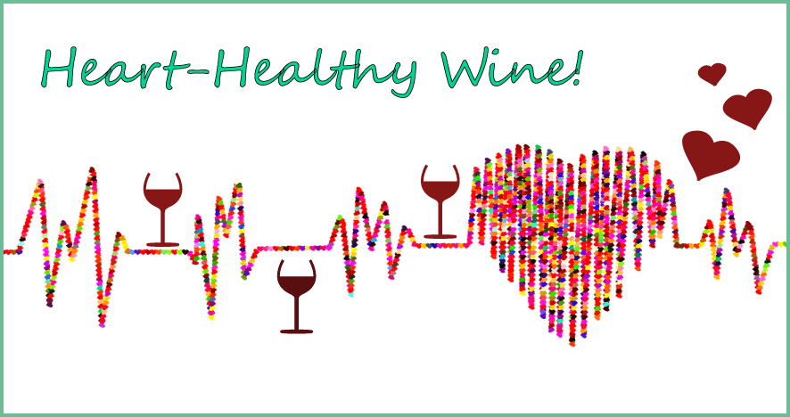 Infographic showing the health benefits of wine text overlay on a cardiac reading.