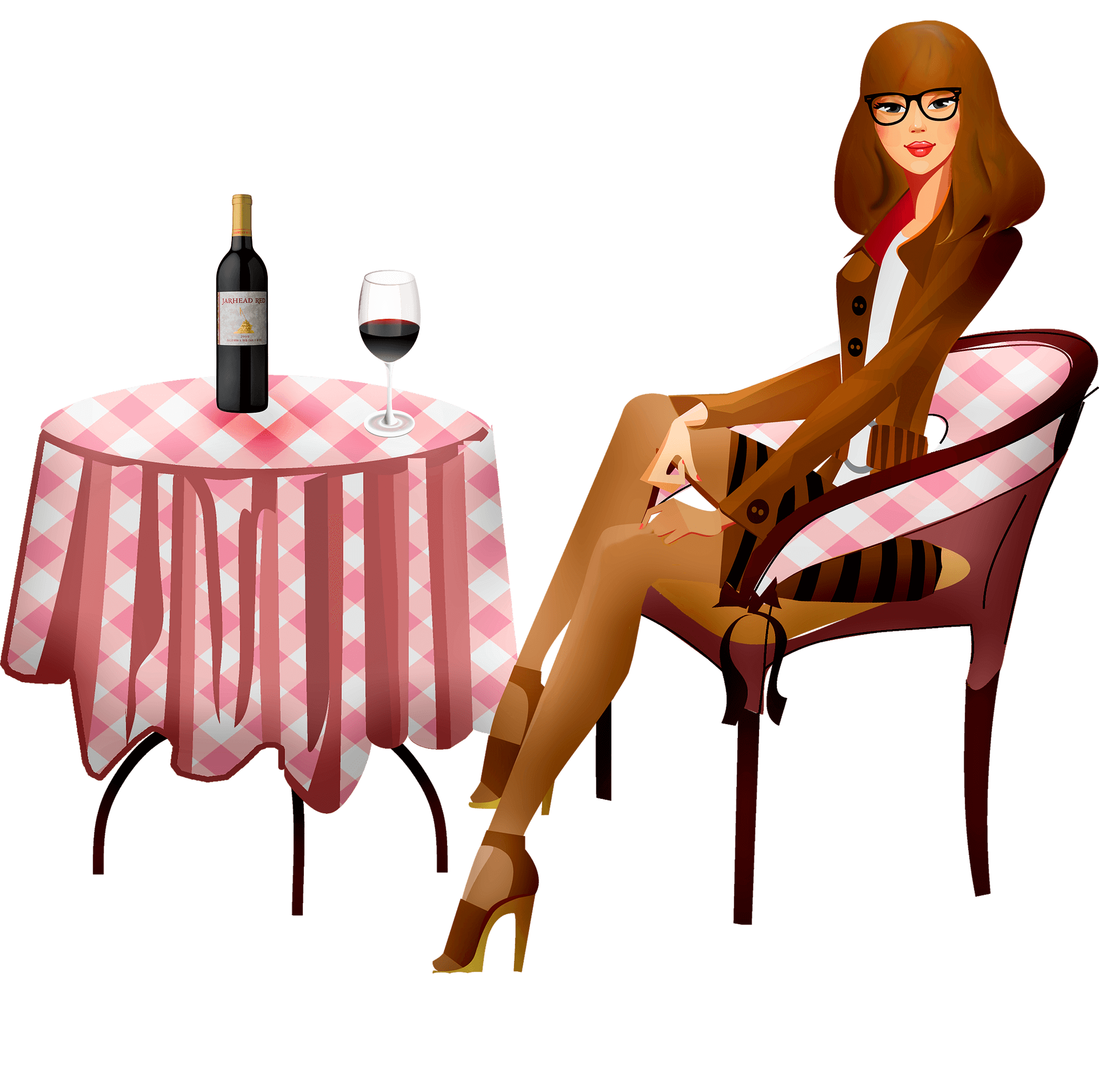 Infographic of a skinny lady enjoying wine at a small round table.