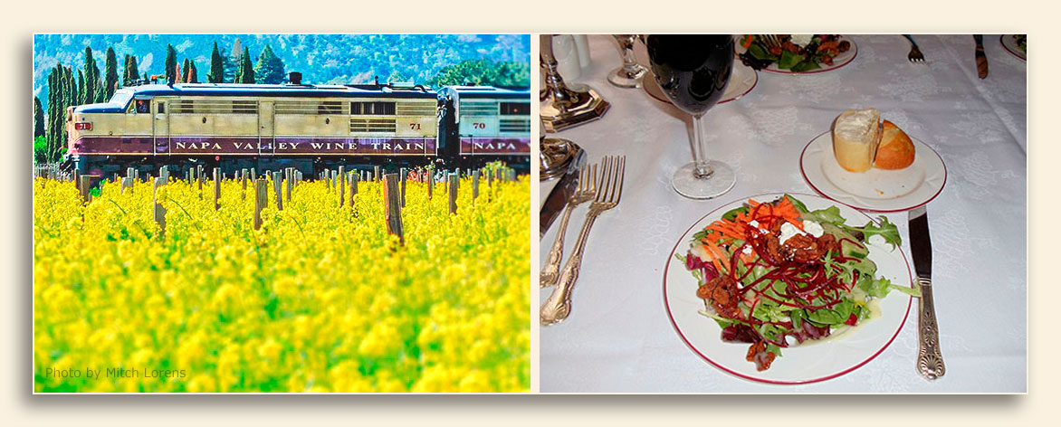 Image of Napa Valley Wine Train tours showing the train and dinner setting