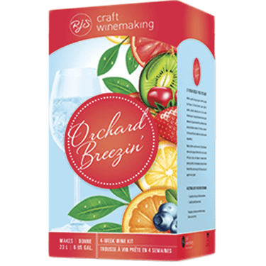 The popular Orchard Breezin wine kit blends grape wine with real fruit flavors for a crisp refreshing drink.