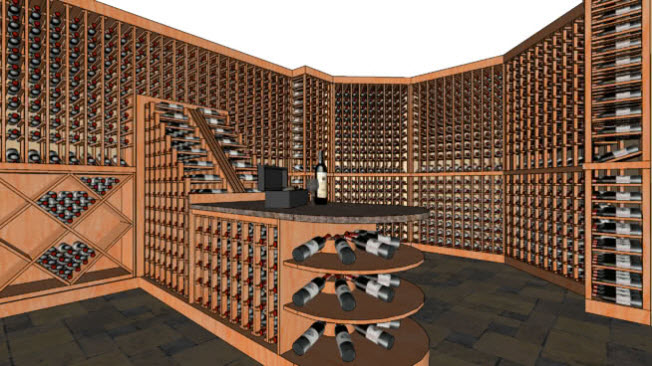 Image showing a wine cellar designed using software.