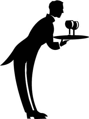Infographic showing a waiter with wine on a tray.