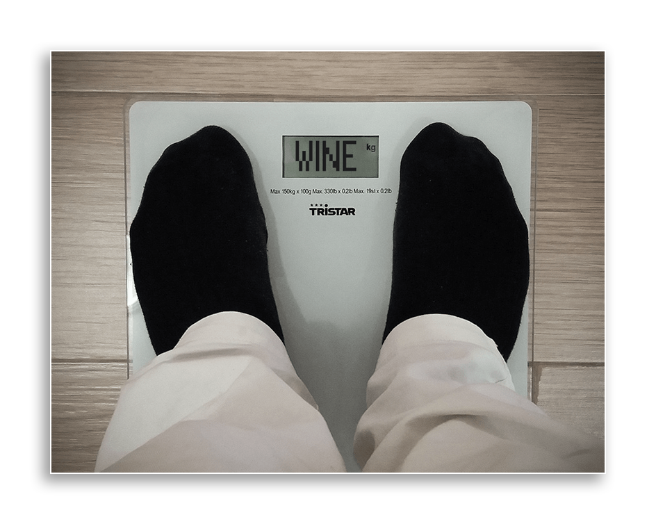 Weigh scale with the words wine in place of weight.