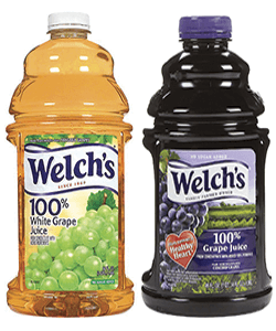 Image collage of Welch's grape juice in white and concord styles.
