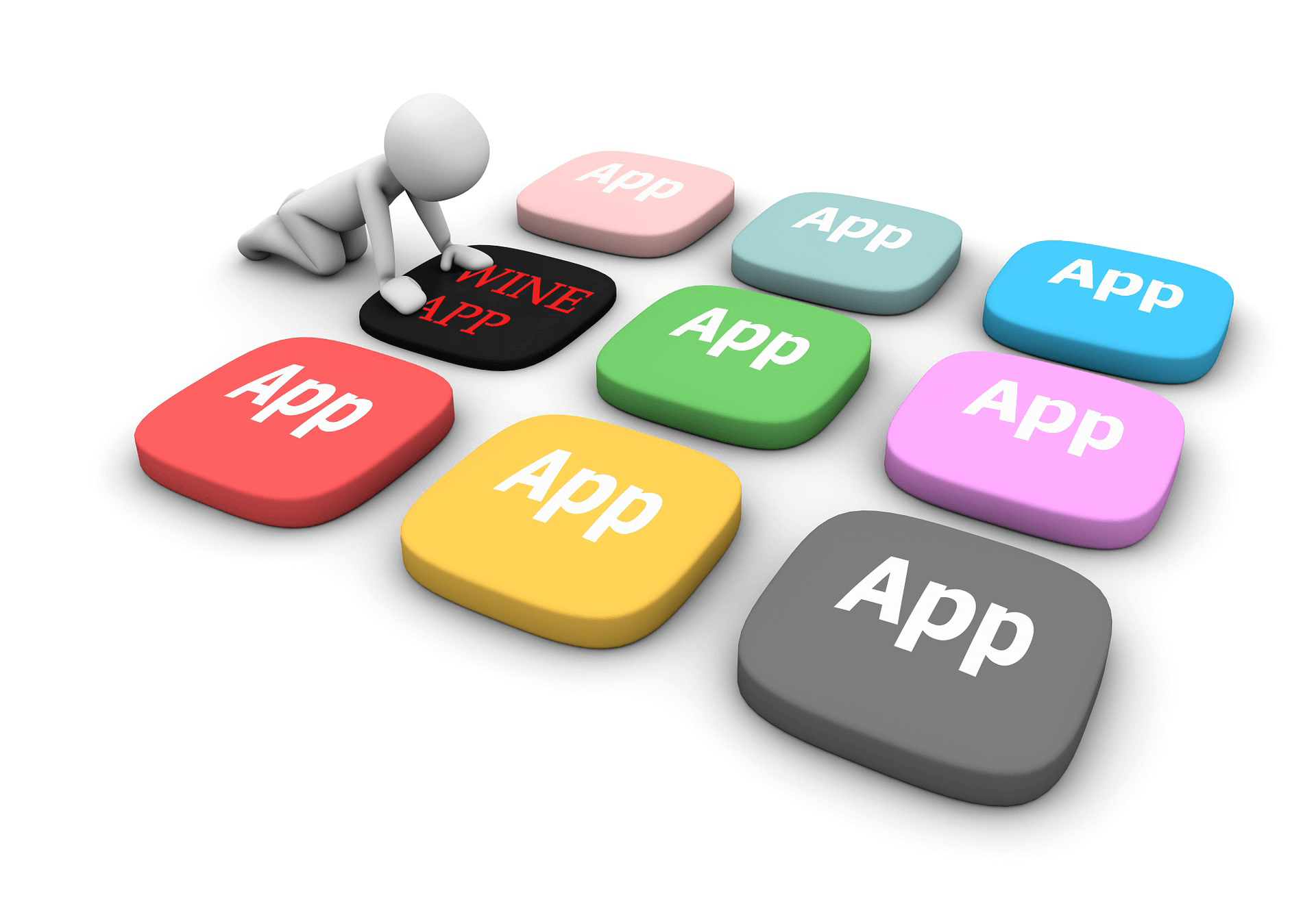 Infographic showing a figure choosing one of several App buttons.