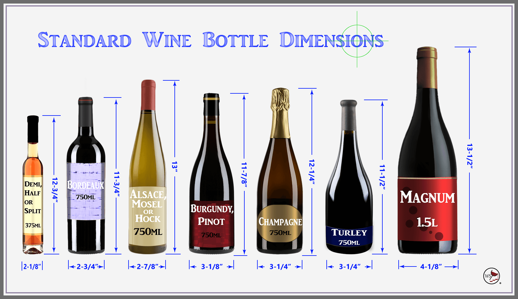 Infographic showing 7 different bottle shapes with dimensions.