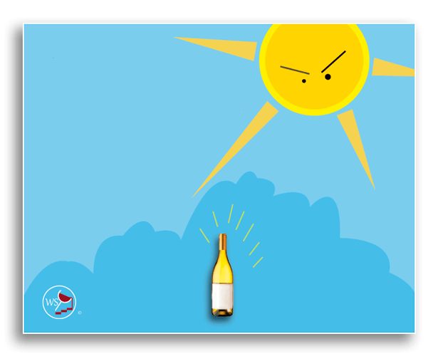 Infographic showing the sun's UV rays on a bottle of white wine.