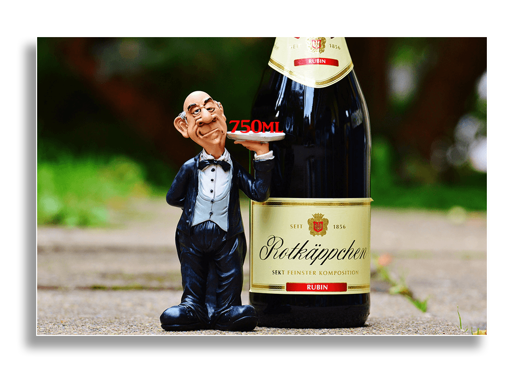 Image of a character standing beside a huge bottle of wine.