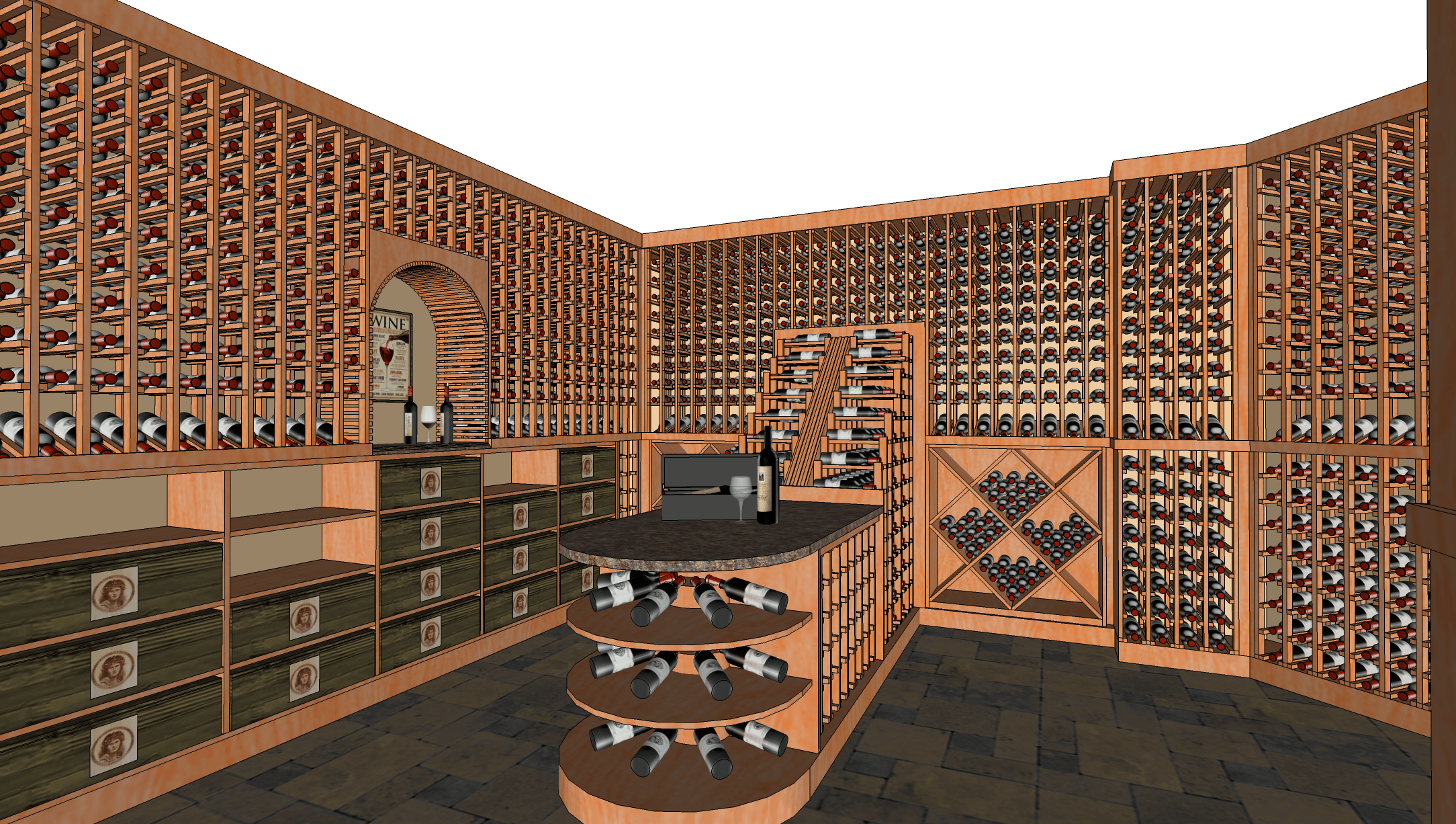Image showing a Sketchup model of a wine cellar.