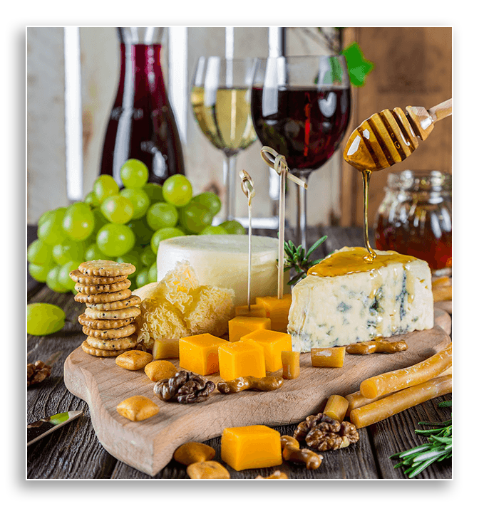 Image showing wine, crackers and cheese.