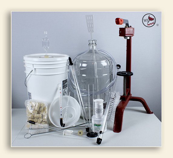 An image of wine making supplies to make wine from a kit