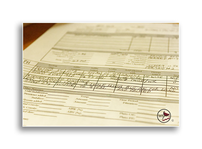 A wine making log page filled in with wine making notes