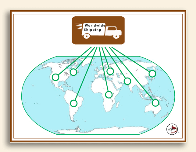 Infographic showing that wine bottles will ship worldwide.