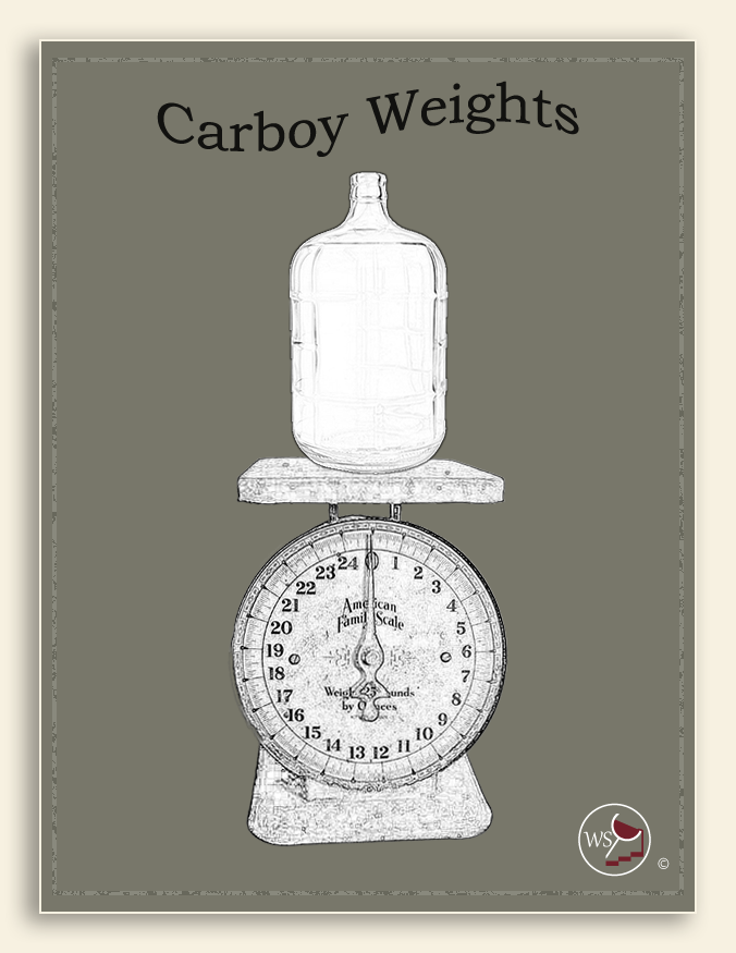 Infographic showing a glass carboy being weighed on a scale