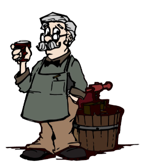 graphic showing a wine maker holding a glass of red wine standing beside his wine press