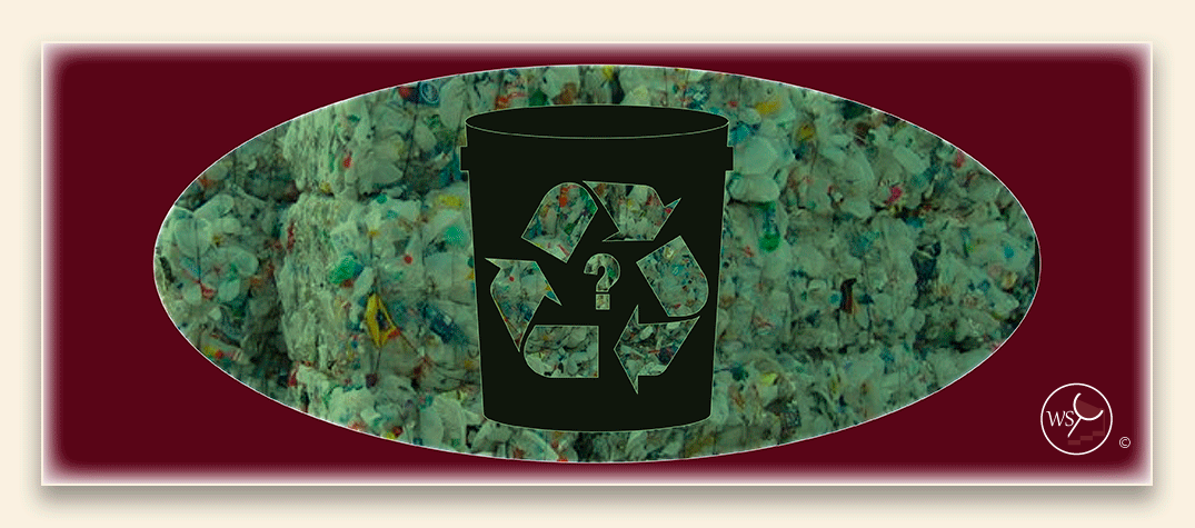 Infographic showing a bucket with a recycling symbol on it and recyclable materials in the background