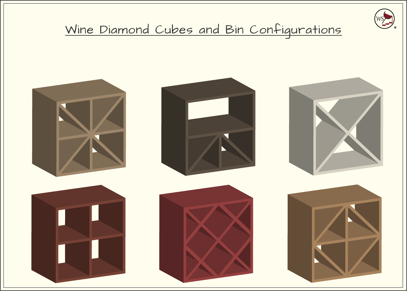 Infographic showing six different configurations of wine diamonds and cubes to store wine in.